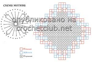 плед из квадратов крючком-схема