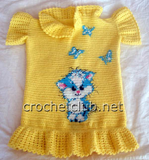 вязаное платье-туника котик