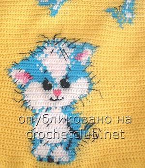 вязаное платье-туника котик 1