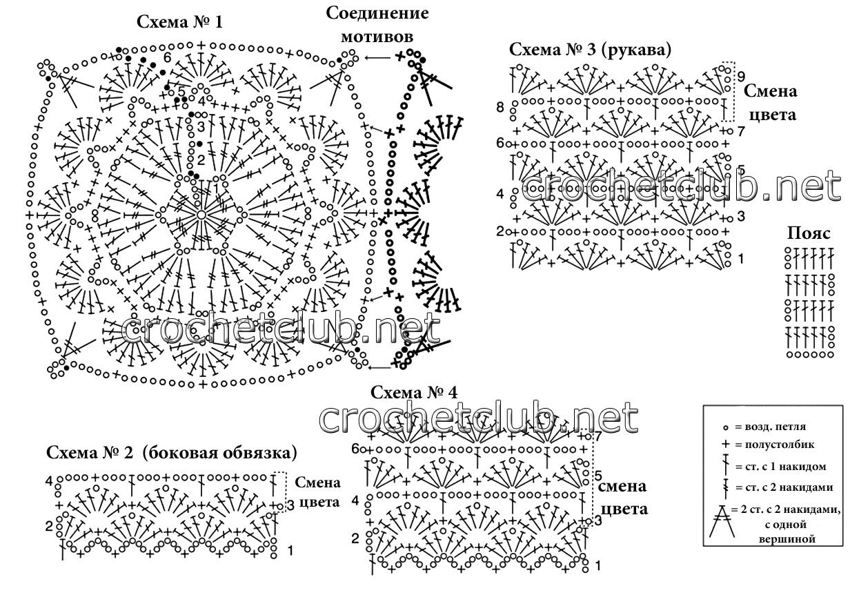 Вязание квадратного мотива крючком для кофты