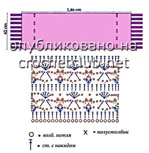 песочный палантин крючком-схема