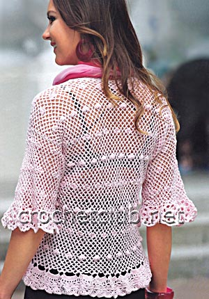 розовая кофточка крючком-спинка