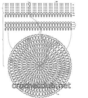 шапочка крючком из мохера-схема