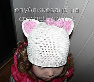 вязаная шапка-котенок 1