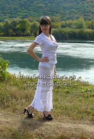 вязаная юбка каскады белых облаков 1