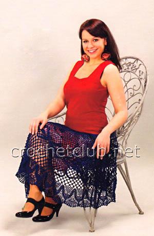 длинная юбка крючком 1