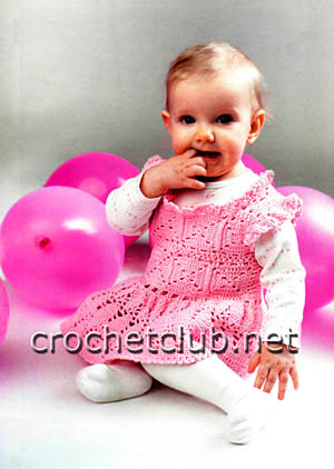 розовое платьице крючком