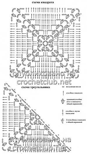 синий бактус крючком-схемы вязания