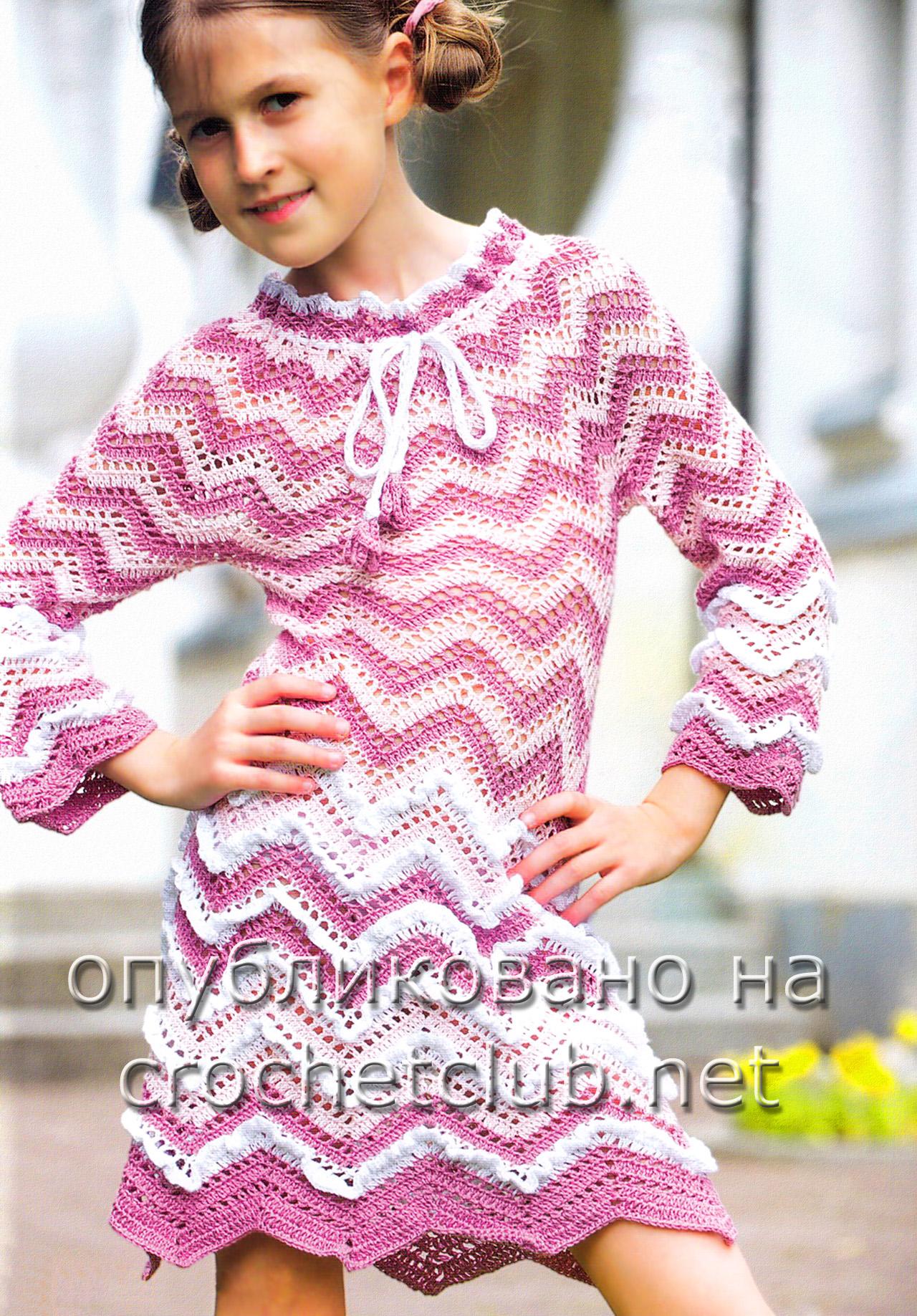 Вязание крючком схема узора для платья