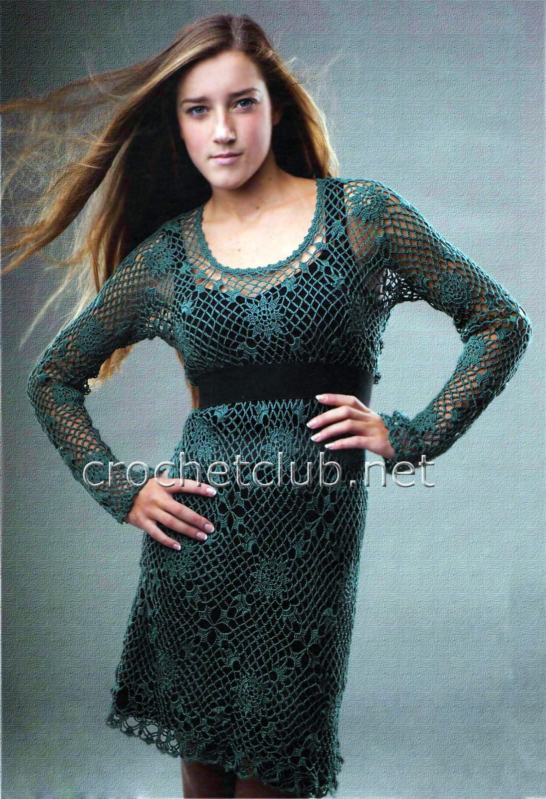Зеленое платье крючок