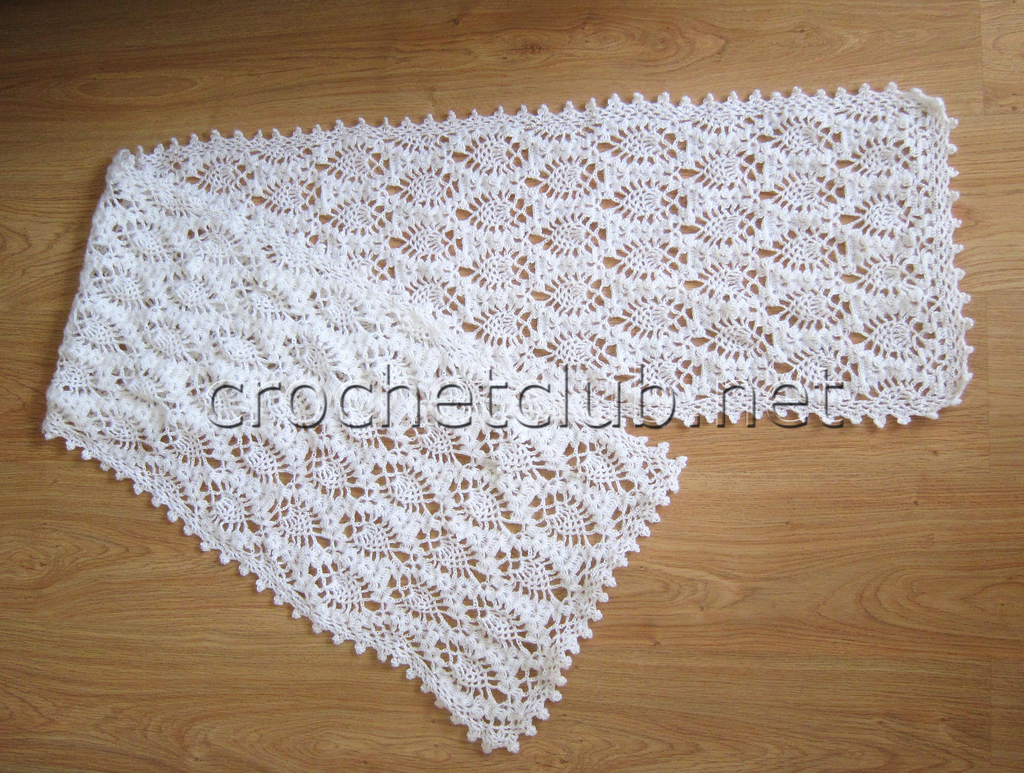 белый палантин вязание на вилке