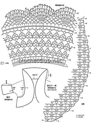 кофта из мохера связанная крючком-схема 1