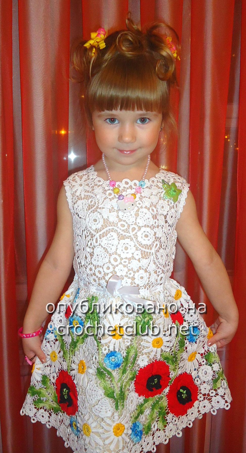 Платье для девочки ирландское кружево