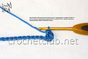 узор крючком объемные веерки 2