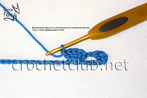 узор крючком объемные веерки 3
