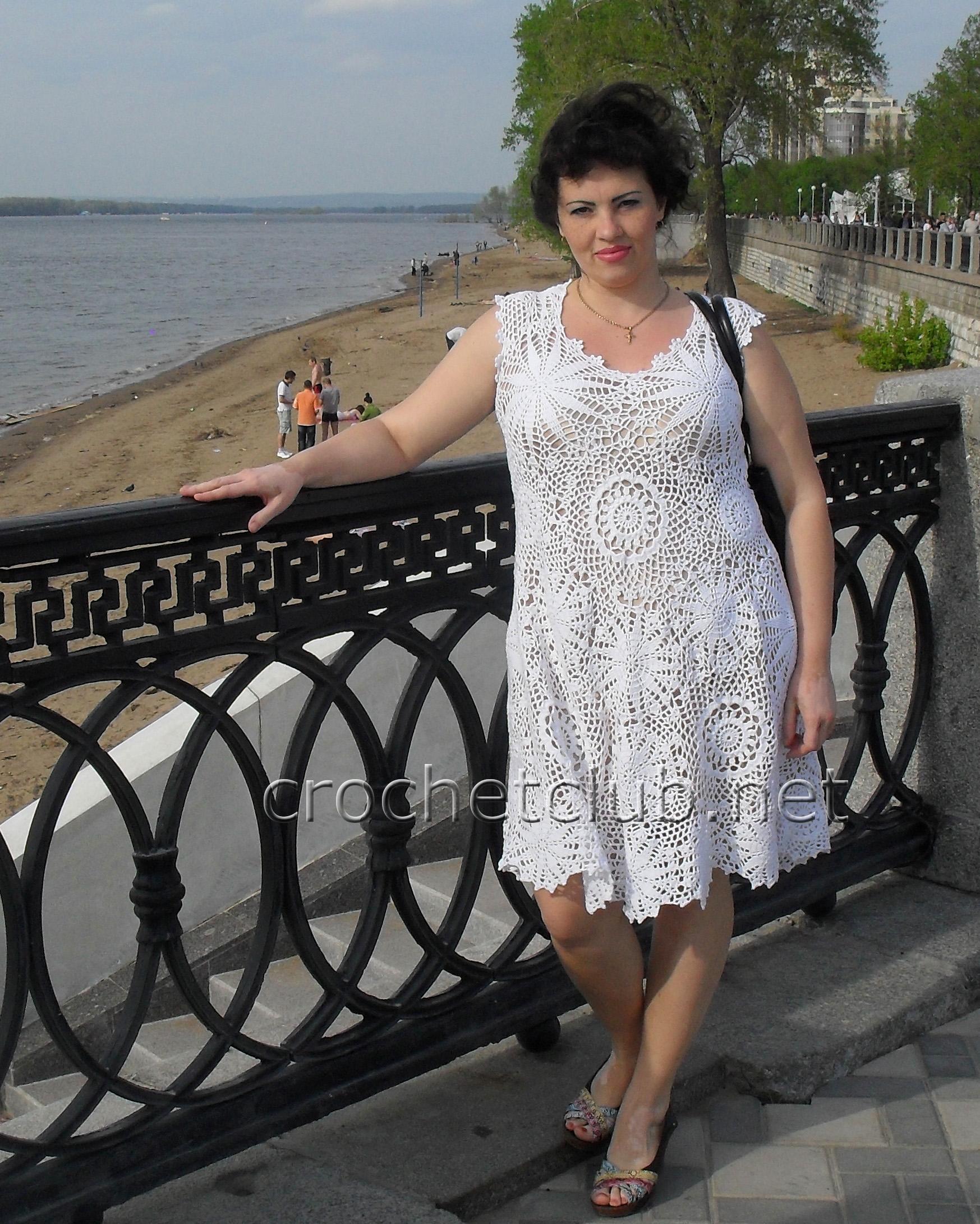 платье узор мельница крючком схема