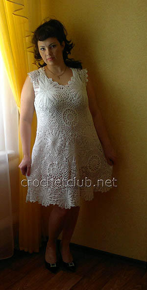 белое вязаное платье 2