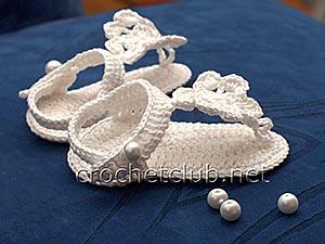 пинетки-босоножки крючком белые 2