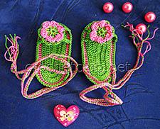 пинетки-босоножки крючком зеленые