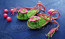 пинетки-босоножки крючком зеленые 1