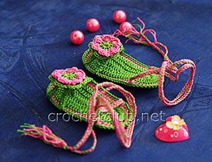 пинетки-босоножки крючком зеленые 2
