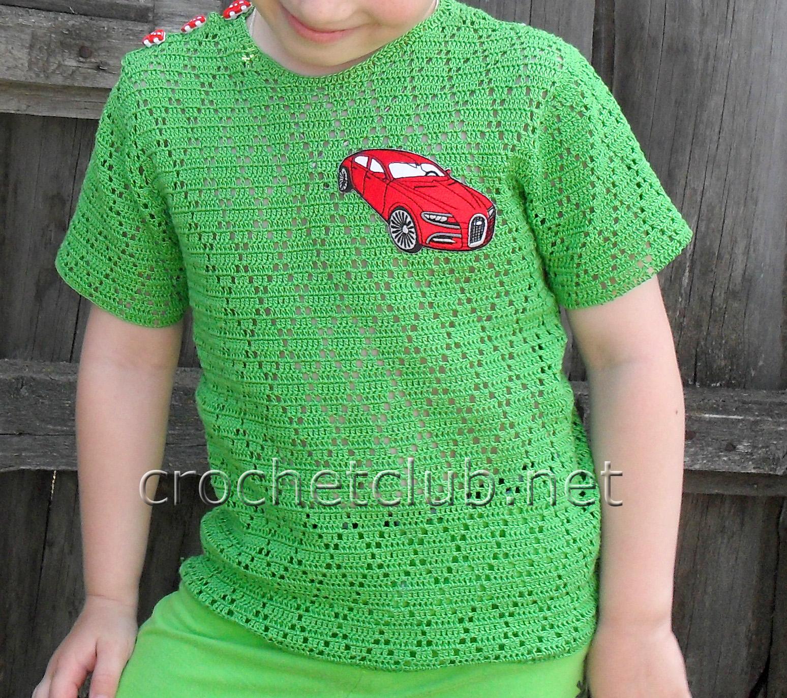 Детские футболки крючком фото