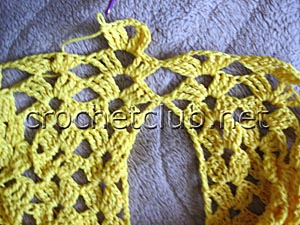 летний пуловер крючком-горловина