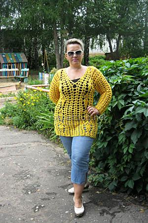 летний пуловер крючком