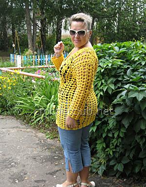 летний пуловер крючком 1