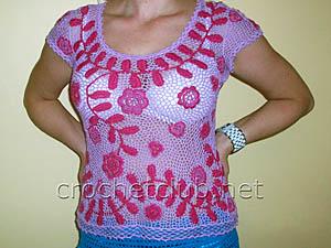 блузка связанная в ирландской технике