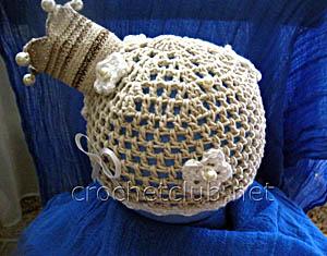 шапка с короной крючком
