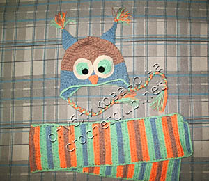 шапка-сова и шарф
