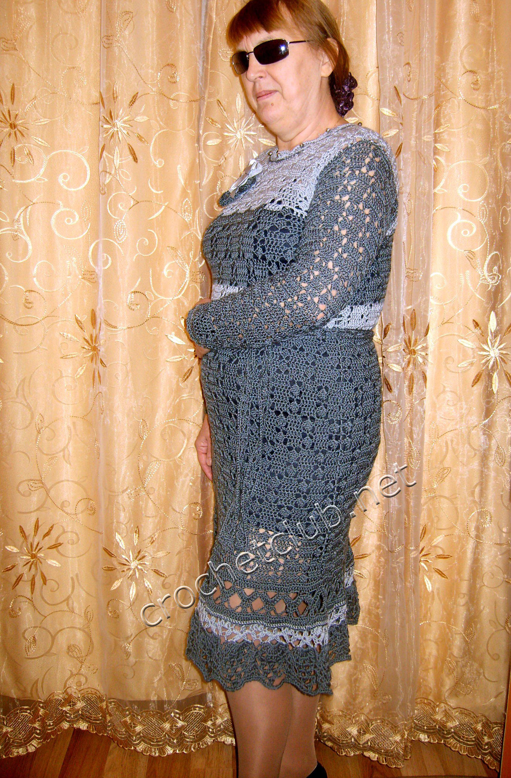 Зимнее платье крючком для женщины