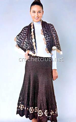 вязаная юбка и палантин