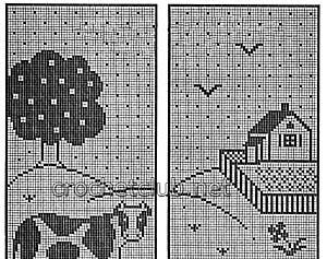 занавеска для дачи веселые буренки-схема 1