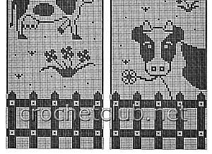 занавеска для дачи веселые буренки-схема 2