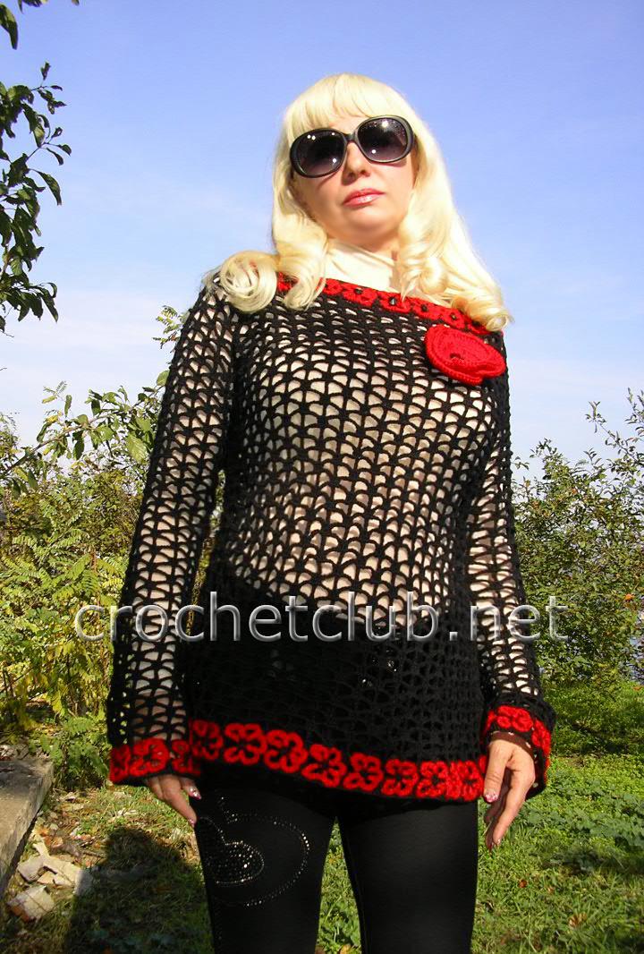 Пуловер-сетка с цветами