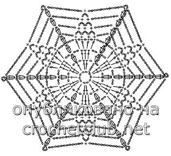 пончо крючком снежинка-схема 1