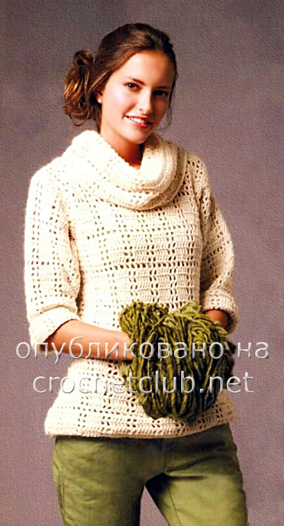 Белый свитер с воротником «