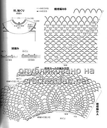 туника с круглой кокеткой крючком-схема 1