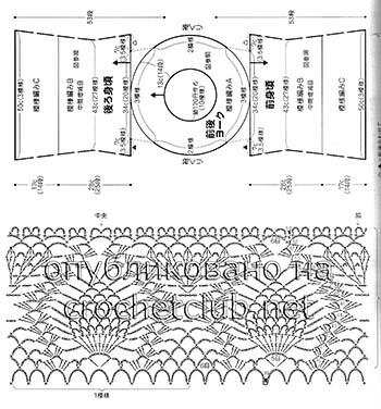 туника с круглой кокеткой крючком-схема 2
