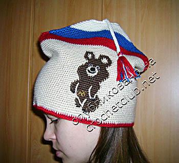 вязаная шапка с олимпийским мишкой