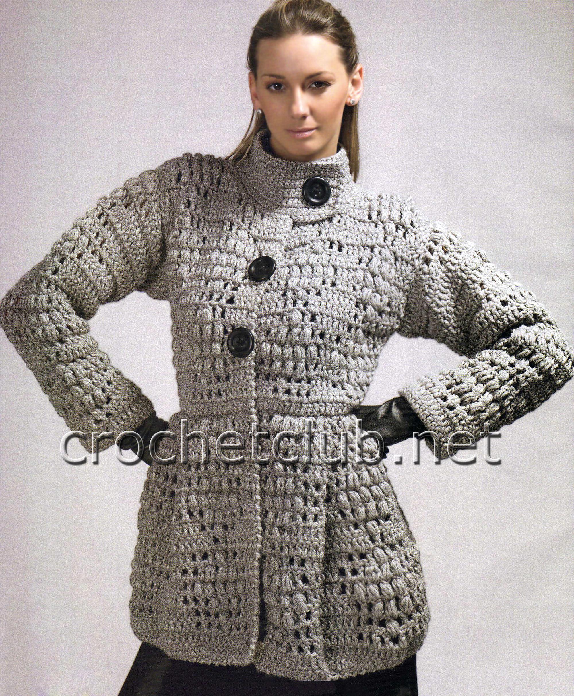 Схемы вязания пальто крючком