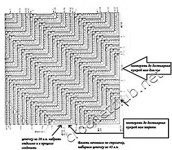 юбка с диагональным узором крючком-схема