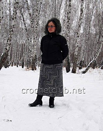 юбка с диагональным узором крючком