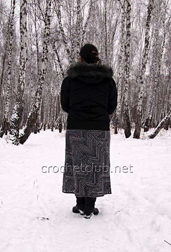 юбка с диагональным узором крючком 1