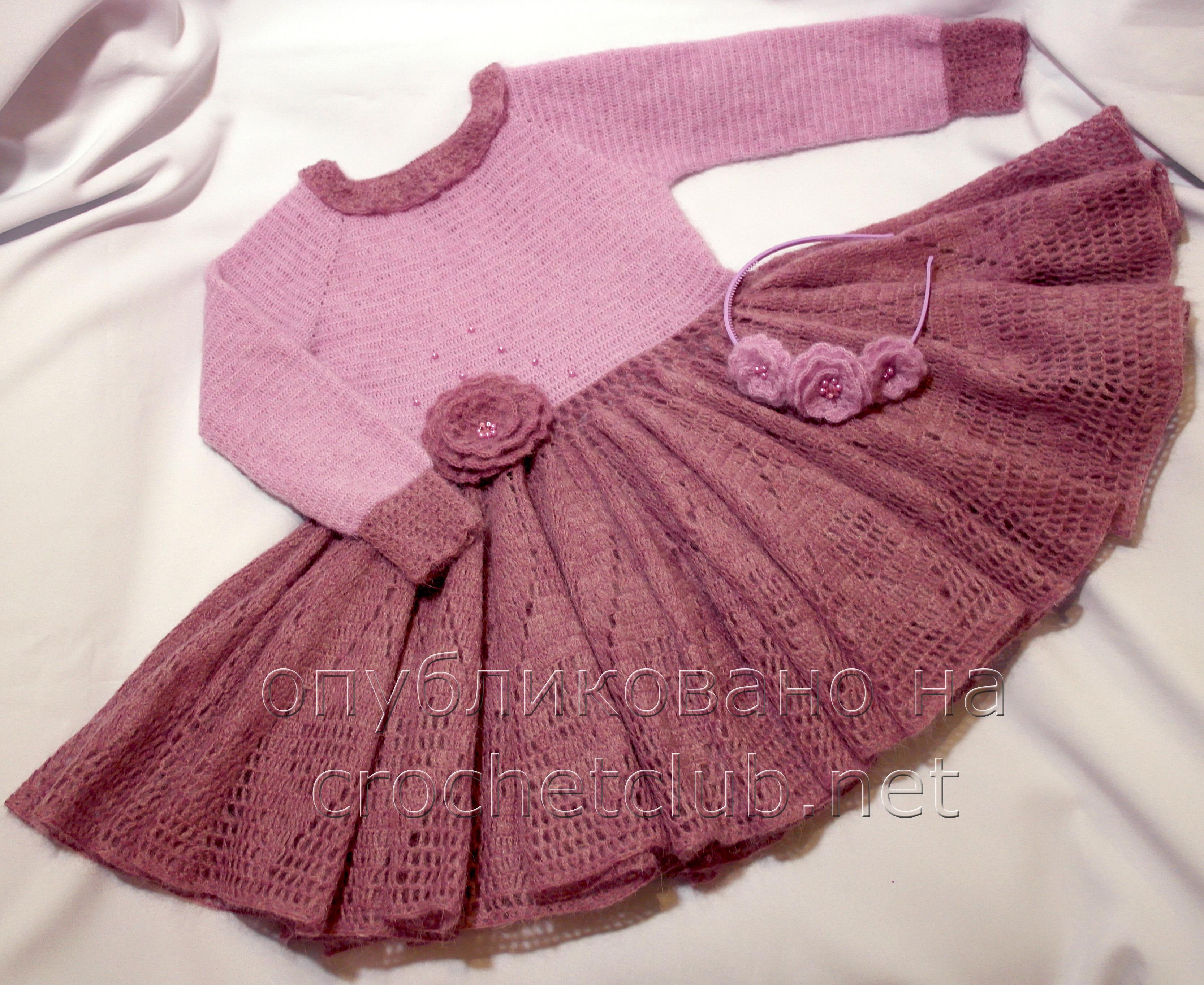 платье крючком розовая дымка вязание крючком блог настика