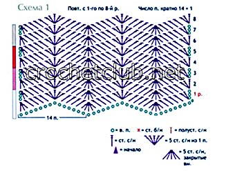 Схема крючком зигзаг видео фото 854