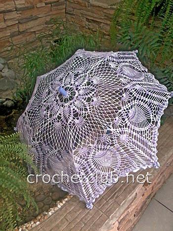 вязаный зонтик меланж