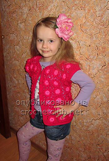 цветочная жилетка для девочки 1